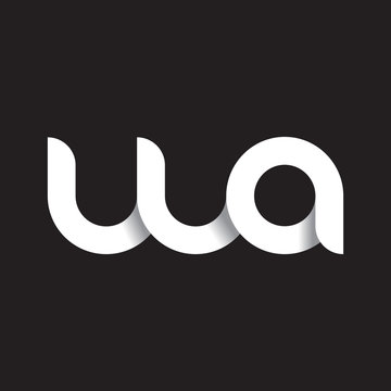Initial lowercase letter wa, linked circle rounded logo with shadow gradient, white color on black background
