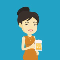 Woman drinking beer vector illustration.