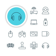 Vector Illustration Of 12 Hardware Icons. Editable Pack Of Computer, Photography, Modem And Other Elements.