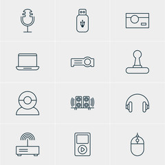 Vector Illustration Of 12 Technology Icons. Editable Pack Of Video Chat, Cursor Controller, Usb Card And Other Elements.