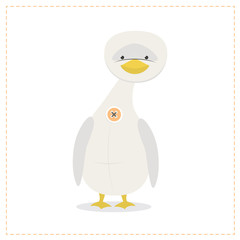 Goose, a funny plush toy, is protected with a button. Vector illustration
