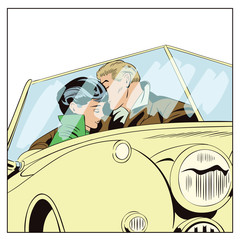 Lovers guy and girl in a retro car.