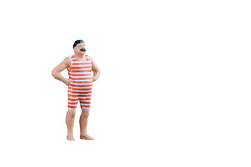 Close up of Miniature fat people isolated with clipping path on white background. Elegant Design with copy space for placement your text, mock up for travel concept