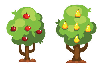 Cartoon pear and apple tree vector illustration