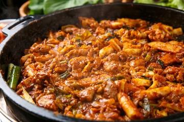 Spicy Stir-fried Chicken with cheese.