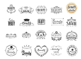 Badge for small businesses - Beauty Salon. Sticker, stamp, logo - for design, hands made. With the use of floral elements, calligraphy and lettering