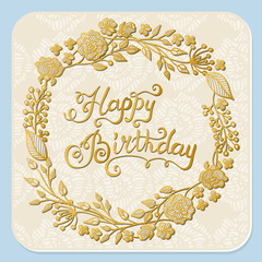 Vector hand drawn greeting card design Happy Birthday with floral wreath on white background.