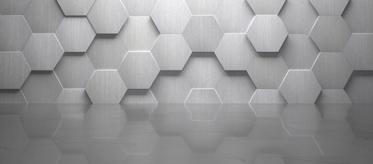 Empty Wide Room With Hexagon Metal Wall and Marble floor (3d Render)