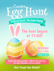 Cute poster for Easter Egg Hunt  with colored eggs and ears of a rabbit. Vector template for banners, flyers and invitation cards.