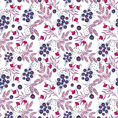 Seamless floral pattern. Colorful flowers, leaves, twigs on white background.