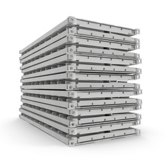 Folded Collapsible ISO Containers Stack isolated on white. 3D illustration