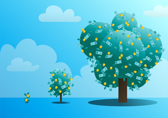 Three stages of growth of a monetary tree