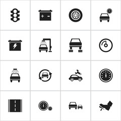 Set Of 16 Editable Transport Icons. Includes Symbols Such As Speedometer, Stoplight, Vehicle Wash And More. Can Be Used For Web, Mobile, UI And Infographic Design.