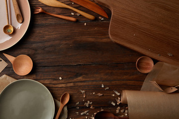 Composition of kitchen devices on wooden table