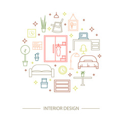 Linear interior design illustration