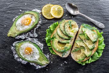 Avocado sandwich and Chickenegg baked in avocado.