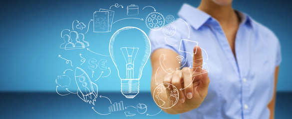 Businesswoman touching hand drawn lightbulb and multimedia icons