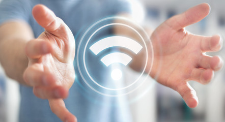 Businessman using free wifi hotspot interface 3D rendering