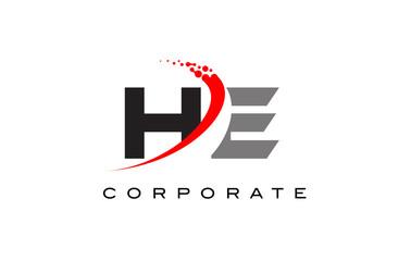 HE Modern Letter Logo Design with Swoosh
