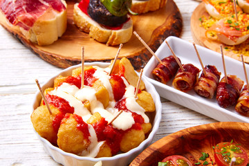 Tapas mix and pinchos food from Spain recipes also pintxos