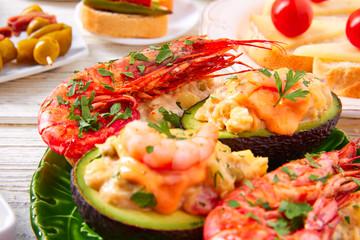 Shrimp pinchos with avocado Spain tapas