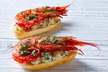 Shrimp pinchos with seafood Spain tapas