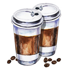 Watercolor illustration with two disposables cups of coffee and coffee beans. Hand painted illustration.