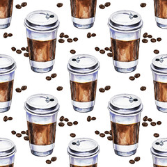 Watercolor seamless pattern with disposables cups of coffee and coffee beans. Hand painted illustration.