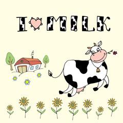 Cute cartoon cow,farm background and I love milk inscription