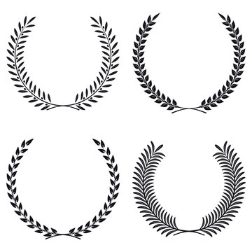 Wreath Set Vector Silhouette. Leaves and Branches Round Frames