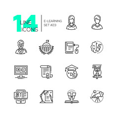 eLearning- modern single line icons set