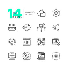 Connection - monochromatic modern single line icons set.