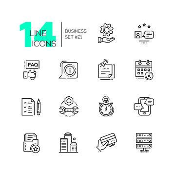 Business - monochromatic modern single line icons set