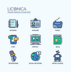 Mass Media - coloured modern single line icons set