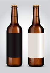 blank label on glass beer bottle for new design