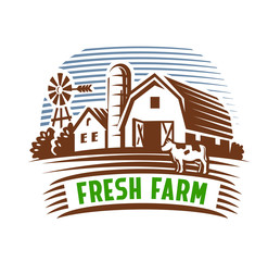 farm emblem and landscape