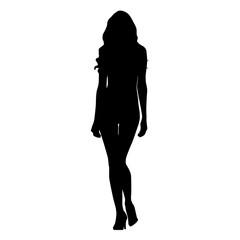 Slim sexy woman catwalk vector silhouette. Tall model girl walking forward