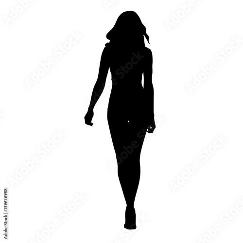 """Slim sexy woman vector silhouette. Tall girl walking ..."