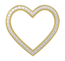 Silver-gold heart with diamonds picture frame isolated on white. 3D illustration.