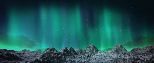 Aurora borealis above snowy islands
