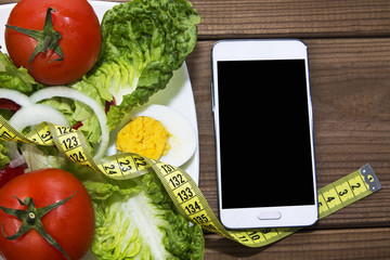 salad of tomato and mobile phone
