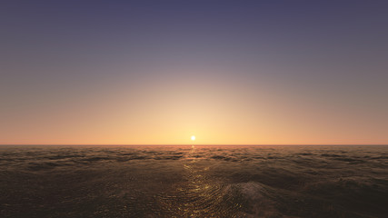 Beautiful sunset above the sea. 3d render