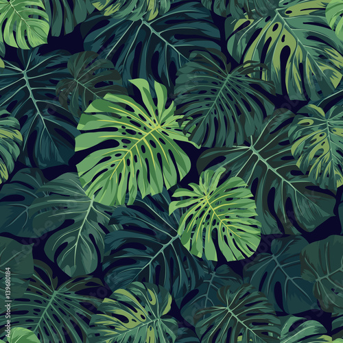 u0026quot seamless vector tropical pattern with green monstera palm