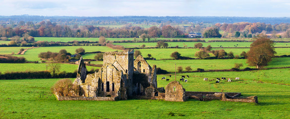 Cashel, Ireland. Panoramic view of ruins of an Hore Abbey