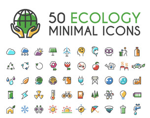 Set of 50 Minimalistic Solid Line Coloured Ecology Icons . Isolated Vector Elements