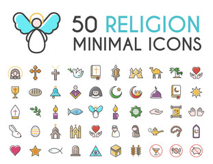 Set of 50 Minimalistic Solid Line Coloured Religion Icons . Isolated Vector Elements