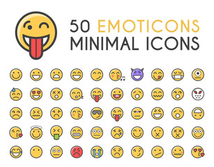 Set of 50 Minimalistic Solid Line Coloured Emoticons Icons . Isolated Vector Elements