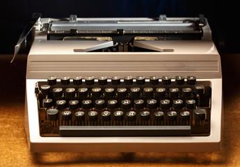 Typewriter with latin alphabet in closeup