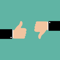Thumbs up and down in flat style. Like and dislike concept. Vector illustration. EPS10