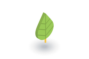 green leaf, eco isometric flat icon. 3d vector colorful illustration. Pictogram isolated on white background